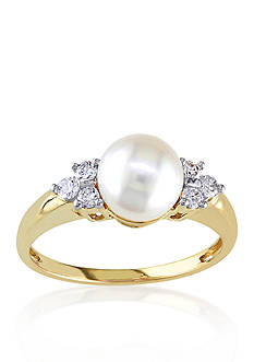 Belk & Co. 14k Yellow Gold Akoya Pearl and Diamond Ring