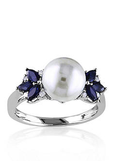 Belk & Co. 10k White Gold Cultured Freshwater Pearl, Diamond, and Sapphire Ring