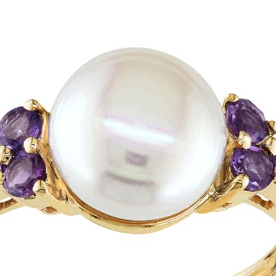 June Birthstone Pearl Jewelry: Multi Belk & Co. 10k Yellow Gold Cultured Freshwater Pearl and Amethyst Ring