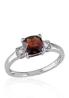 Belk & Co. Garnet and Diamond Ring in Sterling Silver