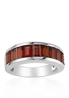 Belk & Co. Garnet Channel Ring in Sterling Silver