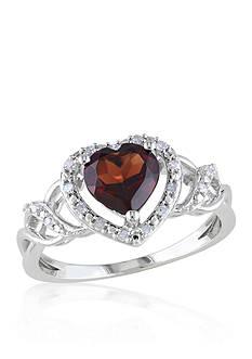 Belk & Co. Garnet and Diamond Heart Ring in Sterling Silver