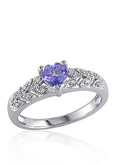 Belk & Co. Sterling Silver Tanzanite and Diamond Heart Ring