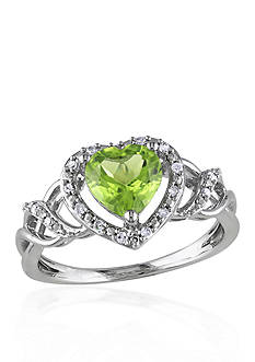 Belk & Co. Sterling Silver Peridot and Diamond Heart Ring