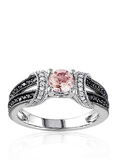Belk & Co. Sterling Silver Morganite and Black and White Diamond Ring