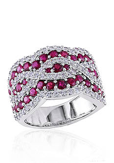 Belk & Co. Ruby and White Sapphire Ring in Sterling Silver