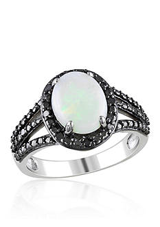 Belk & Co. Sterling Silver Opal and Black Diamond Ring