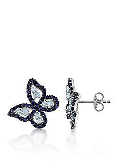 Belk & Co. Blue Topaz and Sapphire Butterfly Sterling Silver Earrings