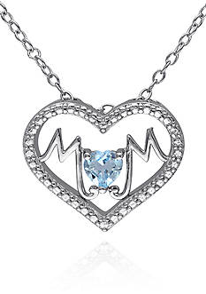 Belk & Co. Blue Topaz Mom Heart Pendant in Sterling Silver