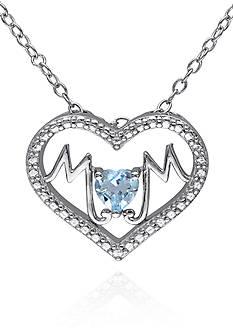 Belk & Co. Blue Topaz Mom Heart Pendant in Sterling Silver