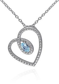 Belk & Co. Blue Topaz Heart Pendant in Sterling Silver
