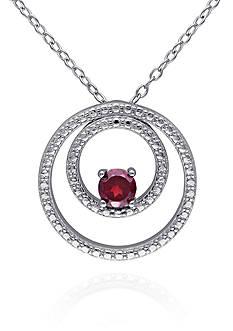 Belk & Co. Garnet Double Circle Pendant in Sterling Silver