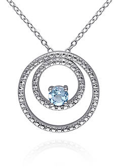 Belk & Co. Blue Topaz Double Circle Pendant in Sterling Silver
