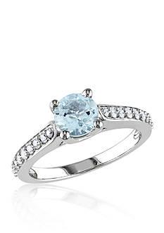 Belk & Co. 10k White Gold Aquamarine and Diamond Ring