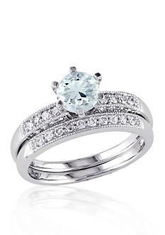 Belk & Co. 1/3 ct. t.w. Diamond and Aquamarine Bridal Set in 10k White Gold
