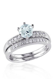 Belk & Co. 1/3 ct. t.w. Diamond and Aquamarine Bridal Set in 10k White Gold
