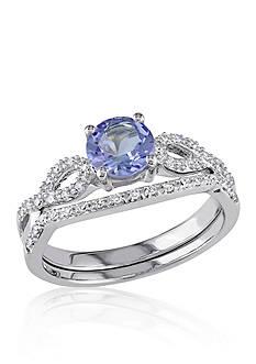 Belk & Co. 1/6 ct. t.w. Diamond and 1.0 ct. t.w. Tanzanite Bridal Set in 10k White Gold