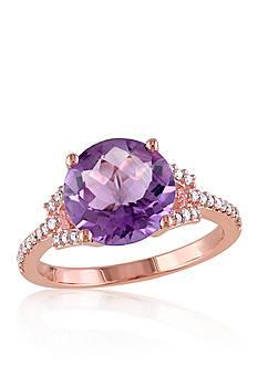 Belk & Co. Amethyst and Diamond Ring in 10k Rose Gold