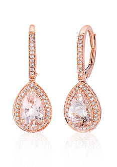 Belk & Co. 14k Rose Gold Morganite and Diamond Earrings