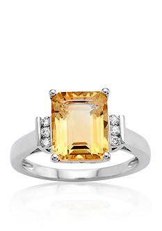 Belk & Co. Citrine and Diamond Accent Ring in Sterling Silver