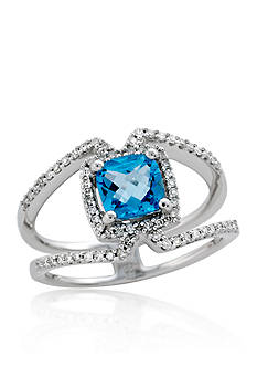Belk & Co. Blue Topaz and Diamond Ring in Sterling Silver