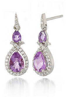 Belk & Co. Sterling Silver Amethyst and Diamond Earrings
