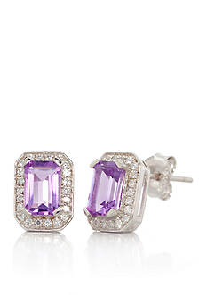 Belk & Co. Sterling Silver Amethyst and Diamond Stud Earrings