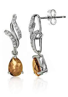 Belk & Co. Citrine and White Topaz Earrings in Sterling Silver