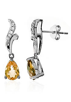 Belk & Co. Citrine and White Topaz Earrings in Sterling Silver