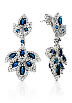 Belk & Co. Sapphire and Diamond Earrings in Sterling Silver