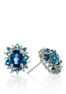 Belk & Co. Blue Topaz and Diamond Earrings in Sterling Silver