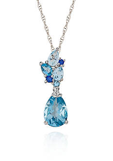 Belk & Co. Blue Topaz, Sapphire, and Diamond Accent Pendant in Sterling Silver