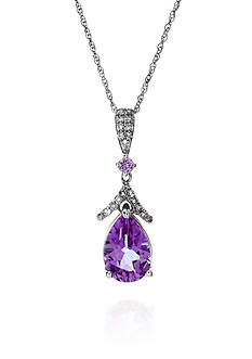 Belk & Co. Amethyst and White Topaz Pendant in Sterling Silver