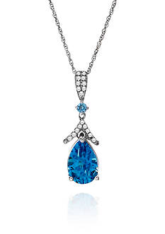 Belk & Co. Blue and White Topaz Pendant in Sterling Silver