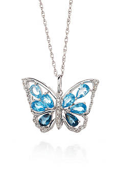 Belk & Co. Sterling Silver Multi Blue Topaz and Diamond Butterfly Pendant