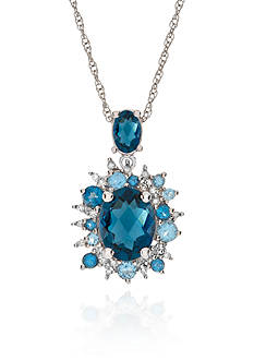 Belk & Co. Blue Topaz and Diamond Pendant in Sterling Silver