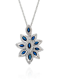 Belk & Co. Sapphire and Diamond Pendant in Sterling Silver