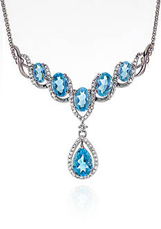 Belk & Co. Blue and White Topaz Necklace in Sterling Silver