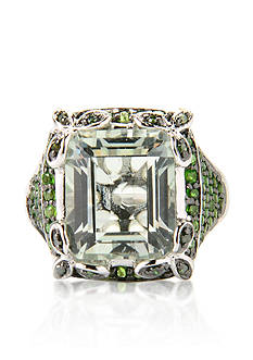 Belk & Co. Green Amethyst, Chrome Diopside and Green Diamond Ring in Sterling Silver