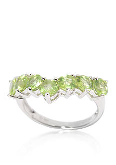 Belk & Co. Sterling Silver 1.65 Cts 4mm Round Peridot Chevron Band Ring