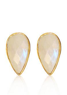 Argento Vivo Moonstone Teardrop Stud Earrings in 18k Yellow Gold over Sterling Silver