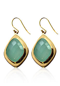 Argento Vivo Blue Chalcedony Drop Earrings in 18k Yellow Gold Over Sterling Silver