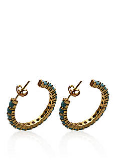 Argento Vivo Turquoise Hoop Earrings in 18k Yellow Gold Over Sterling Silver