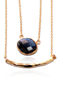 Argento Vivo Labradorite Necklace in 18k Yellow Gold over Sterling Silver