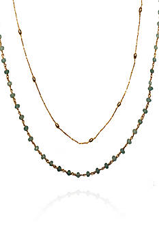 Argento Vivo Aqua Chalcedony Multi-Strand Necklace in 18k Yellow Gold over Sterling Silver