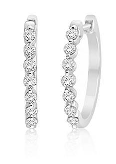 Belk & Co. Diamond Hoop Earrings in 14k White Gold