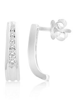 Belk & Co. Diamond Hoop Earrings in 10K White Gold