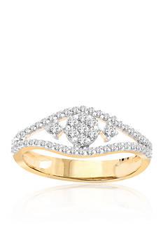 Belk & Co. White Diamond Open Cluster Ring in 10K Yellow Gold