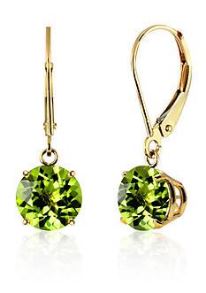 Belk & Co. Round Peridot Dangle Earrings in 10K Yellow Gold