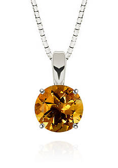 Belk & Co. Round Citrine Solitaire Pendant in Sterling Silver